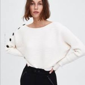 Zara Knitwear Collection Cream Ribbed Sweater M